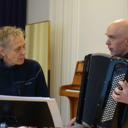 Komponisten Magnar Åm og Geir Draugsvoll. København 5.2.2016