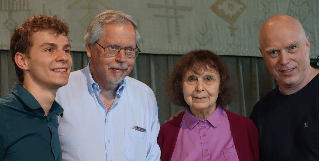 Dirigent Martynas Stakionis, forlagsdirektør Hans-Ulrich Duffek, Komponist Sofia Gubaidulina, akkordeonist Geir Draugsvoll 24.05.2018