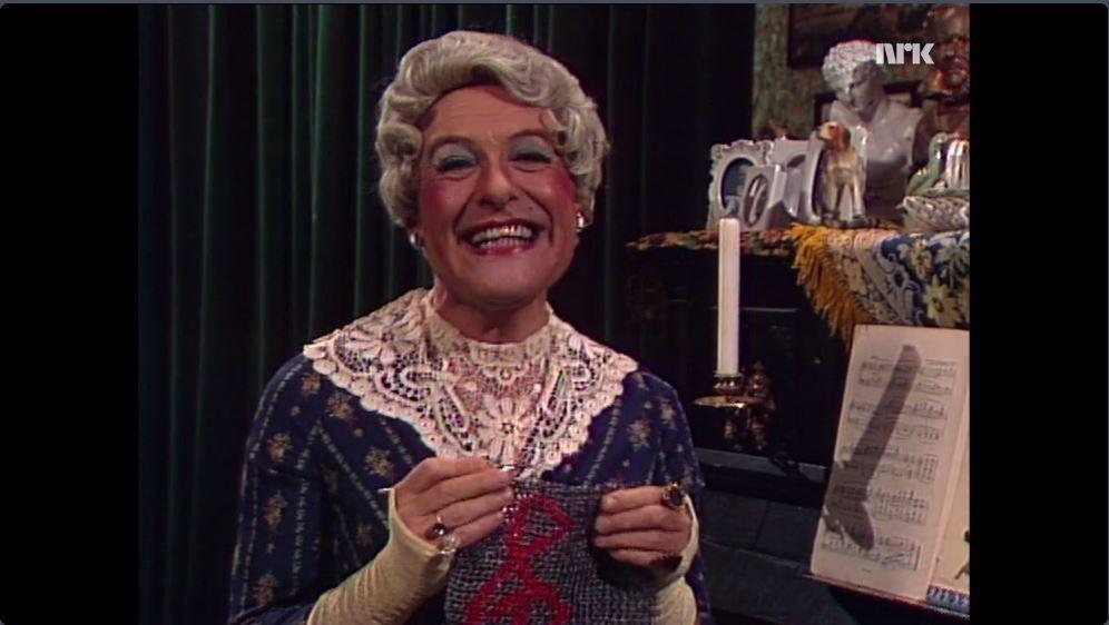 Fru Schultz, tidligere pianolærerinne.  Skjermdump fra et NRK-program i 1989
